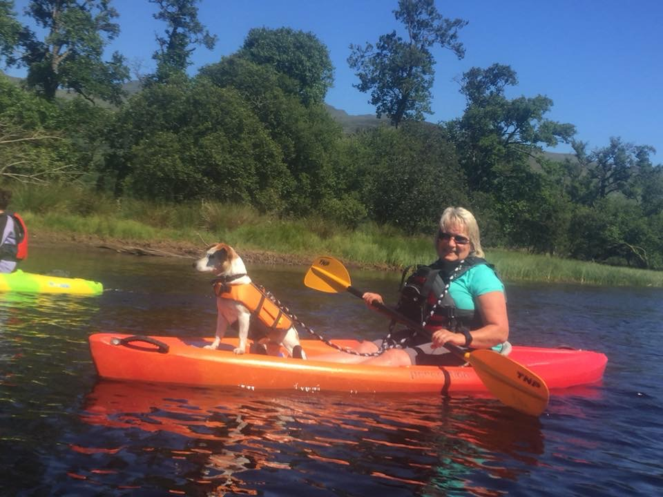 Even pets can come kayaking.  Holly the dog out at Loch Tay in Killin.