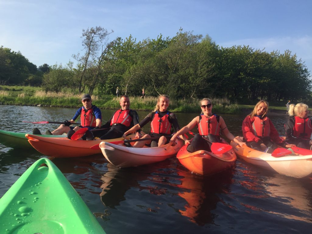 Kayaks rafted together at Lochore