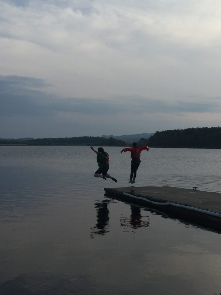 Sarah and Dougie jumping off the pier at Lochore